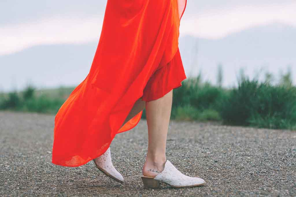 Kombinier mich: Oranges Kleid